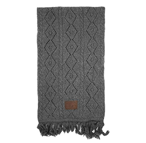 True Religion Cashmere-Blend Crocheted Winter Scarf (Gray)