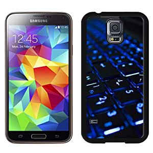 Beautiful Designed Antiskid Cover Case For Samsung Galaxy S5 I9600 G900a G900v G900p G900t G900w Phone Case With Blue Neon Illuminated Computer Keyboard_Black Phone Case