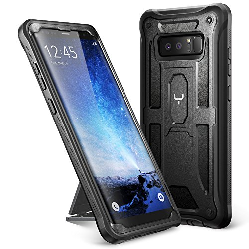 Galaxy Note 8 Case, YOUMAKER Heavy Duty Protection Kickstand Shockproof Clip Holster Case Cover for Samsung Galaxy Note 8 (2017 Release) WITHOUT Built-in Screen Protector (Black/Black)