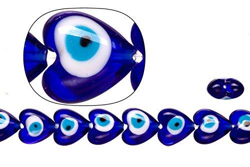 Glass Heart Shaped Venetian - Glass beads, sapphire base evil eye amulet design, 15x15mm heart shape beads. sold per 24pcs/23cm string