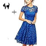 Imixshopcs Womens Lace Floral Short Sleeve Mini Evening Bodycon Slim Cocktail Dress