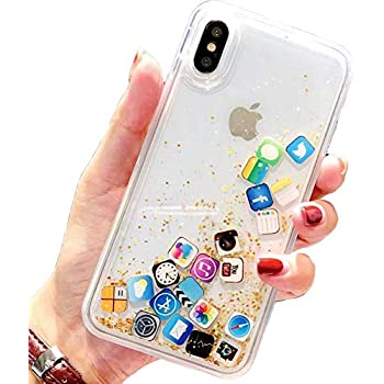 Amazon.com: iPhone Xs MAX Case,Floating Apps Liquid ...