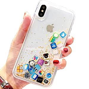 Amazon.com: iPhone Xs Case,Floating Apps Liquid Quicksand ...