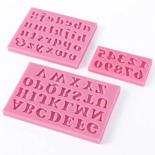 SODIAL(R)3 X Alfabeto de Silicona Letra Numero Torta de la galleta pasta de azucar Decoracion el molde: Amazon.es: Hogar