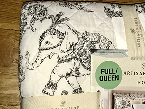 FULL/QUEEN SIZE black & white toile damask bohemian elephant pattern reversible COTTON QUILT SET (set includes 2 standard shams)