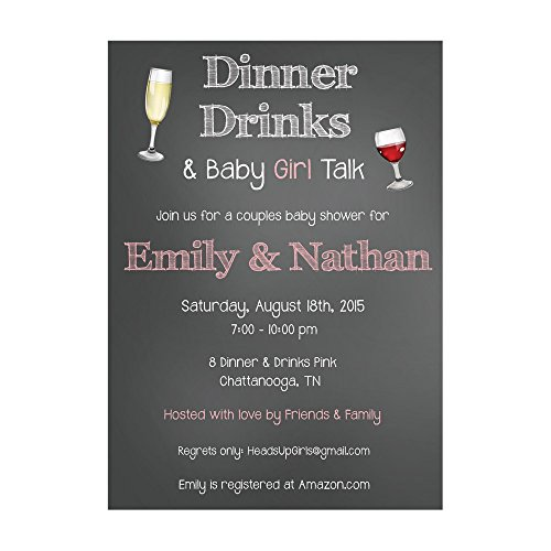 Set of 12 Personalized Baby Shower Invitations and Envelopes in Baby Girls Chalkboard Dinner and Drinks Theme NV190