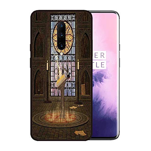 Case for OnePlus 7 pro,Silicone Cover and Tempered Glass 2 Materials,Non-Slip, Anti-Drop, Anti-Scratch,Depict- Gothic,Lectern on Pentagram Symbol Medieval Architecture Candlelight in Dark