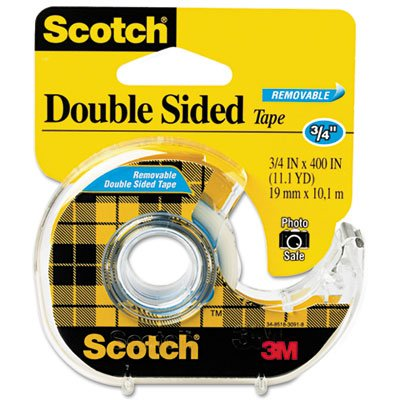 667 Double-Sided Removable Office Tape and Dispenser, 3/4'' x 400'', Total 24 RL