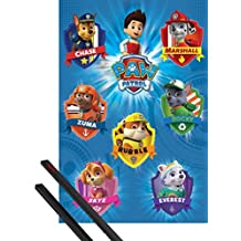 Poster + Hanger: Paw Patrol Poster (36x24 inches) Crests And 1 Set Of Black 1art1® Poster Hangers