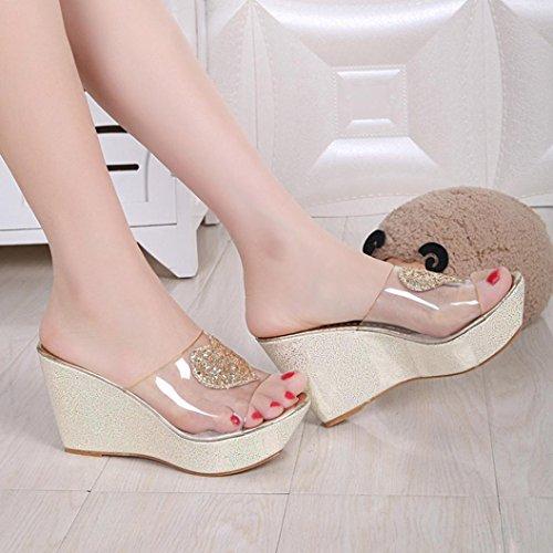 LANDFOX Sandalias de verano de las mujeres Zapatos Peep-dedo del pie zapatos bajos Sandalias Oro
