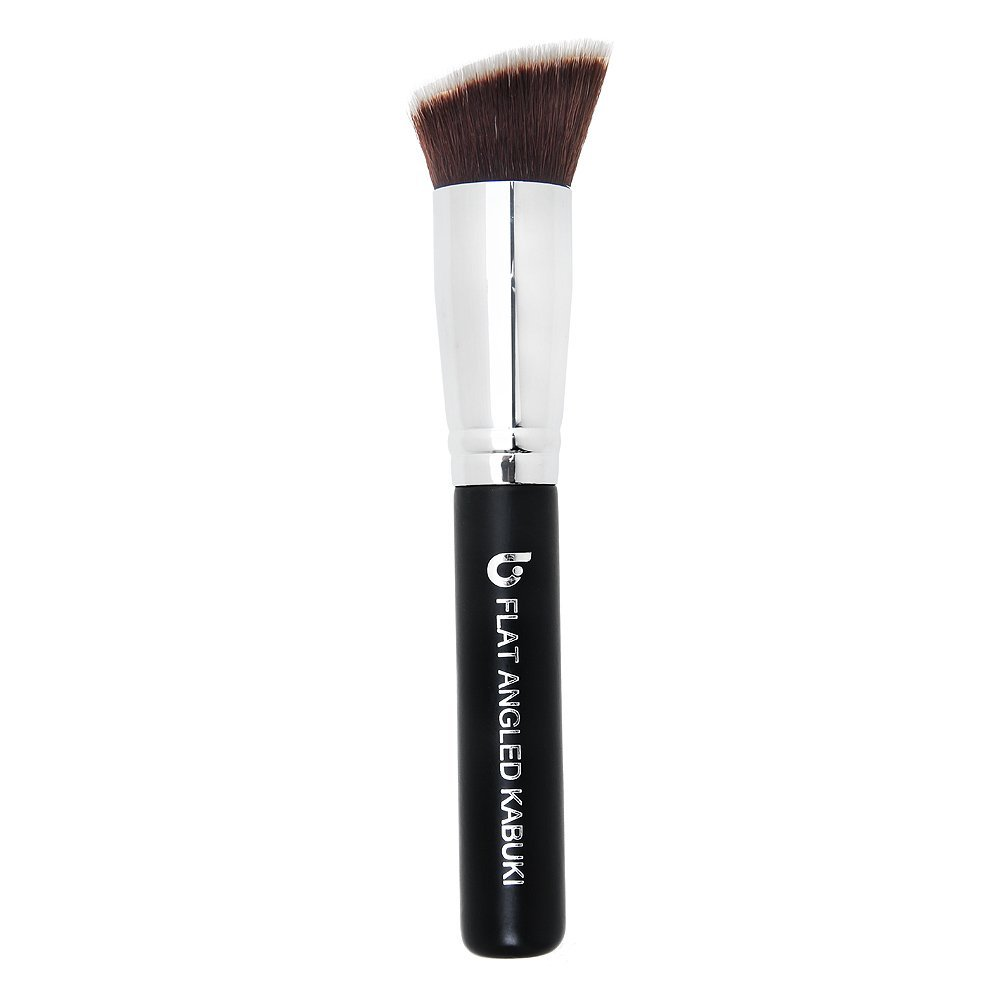 Bronzer Makeup Brush Angled Kabuki - Best Large Face Brush Full Face Powder Cream Contouring Highlighter Make Up Blending Buffing Cosmetic Applicator Soft Dense Synthetic Vegan Brochas de Maquillaje