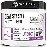 Premium Organic Body Scrub Set - Large 16oz LAVENDER BODY SCRUB - Pure Dead Sea Salt Infused With Organic Essential Oils & Nutrients + FREE Wooden Spoon, Loofah & Mini Organic Exfoliating Bar Soap