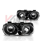 Winjet WJ10-0217-04 Projector Halo Headlights for 1998-2001 Acura Integra - Black/Clear