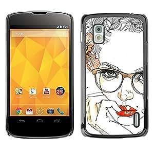 GOODTHINGS Funda Imagen Diseño Carcasa Tapa Trasera Negro Cover Skin Case para LG Google Nexus 4 E960 - labios gafas rosas mujer sexy floral