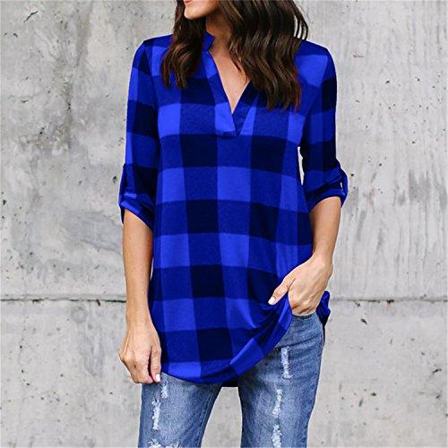 New Spring Summer T Shirt Women Blusas Feminina Grid Printed T-Shirt Armbands Loose Tops Tee Casual Plus Size 4XL 5XL Blue 5XL