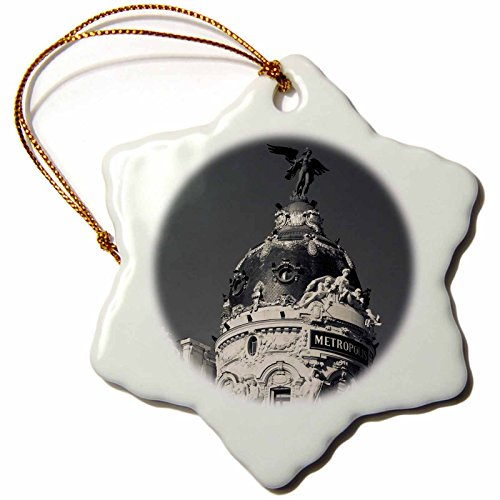 3dRose orn_139184_1 Spain, Madrid, Centro Area, Metropolitan Building-Eu27 Wbi0200-Walter Bibikow-Snowflake Ornament, 3-Inch, Porcelain by 3dRose