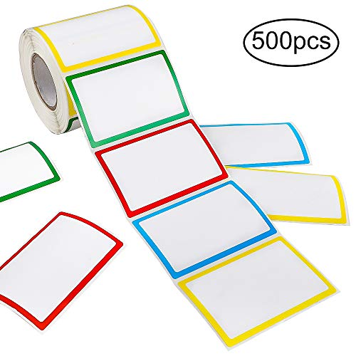 APLANET 500pcs Colorful Plain NameTag Labels Stickers Ordinary Labels, 3.5
