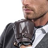 Matsu Men Touch Screen Italian Nappa Leather winter super warm Gloves KU013 (L, Brown Long Fleece or Cashmere lining)