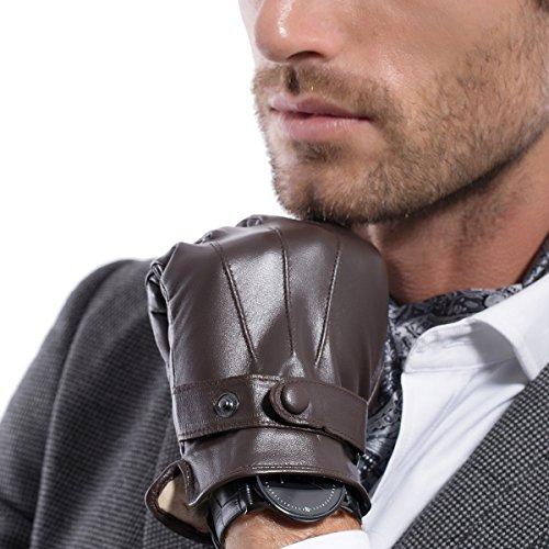 Matsu Men Touch Screen Italian Nappa Leather winter super warm Gloves KU013 (S, Brown Long Fleece or Cashmere lining) - Brown Italian Glove