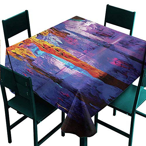 DONEECKL Oil-Proof and Leak-Proof Tablecloth Natural Cave Algarve Coast Cliffs Indoor Outdoor Camping Picnic W50 xL50 ()