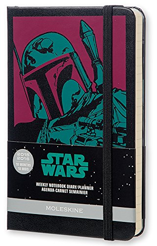 Moleskine Star Wars - Agenda 18 meses, 2015-2016, semanal, tamaño bolsillo, color serigrafiado sobre negro