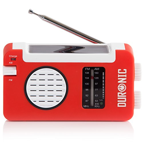 Duronic Hybrid Radio Wind Up Solar and Rechargeable AM/FM Radio with USB...