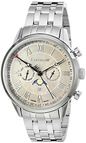 Thomas Earnshaw Men's 'Officer' Swiss Quartz Stainless Steel Dress Watch (Model: ES-0017-22)