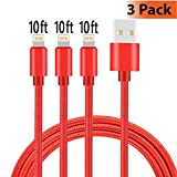 iPhone Charger, KMISS 3Pack 10FT Nylon Braided USB A to Lightning Compatible Cable Compatible with iPhone 7 Plus 6S Plus 6 Plus SE 5S 5C 5, iPad 2 3 4 Mini Air Pro, iPod & More (Red)