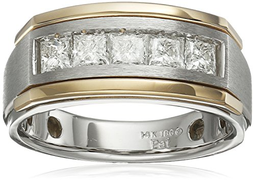 Men's 14k Two-Tone Gold Princess-Cut Channel-Set Diamond Ring (1 cttw, H-I Color, I1-I2 Clarity), Size 9