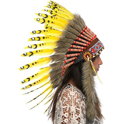 Feather Headdress- Native American Indian Inspired- Handmade Halloween Costume for Men Women with Real Feathers - Yellow (Aztec Halloween Costume)