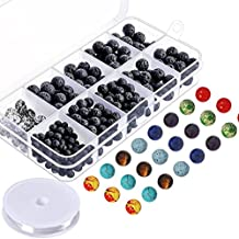 Paxcoo 400pcs Lava Stone Rock Beads with Chakra Beads for Essential Oil and Jewelry Making