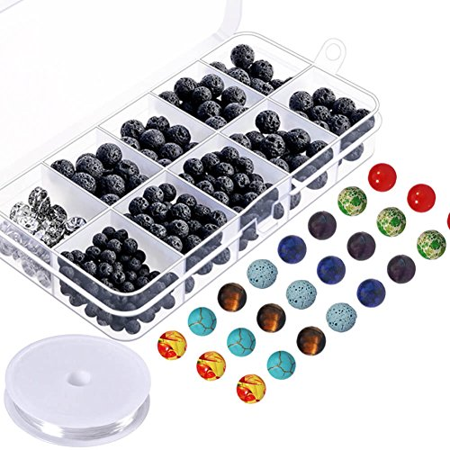 Paxcoo 400pcs Lava Stone Rock Beads with Chakra Beads for Essential Oil and Jewelry Making (Plastic Necklace Turquoise)