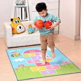 Super Cute Pink Hopscotch Carpet Game Mat for Children 39 by 79 Inch - MAXYOYO Cartoon Digit Colorful Square Floor Mat Area Rug for Boys Girls Bedroom Living Room