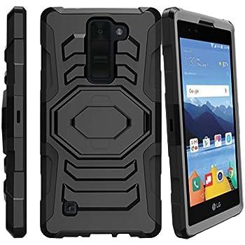 LG K8 V Case, LG K8V Heavy Duty Case, VS500 [Armor Reloaded] Dual Layer Shell Case + Holster Clip and Kickstand Design Case by Miniturtle - Black
