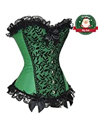 Miss Moly Women Bustiers Corsets Multi-Style Overbust Waist Cinching Plus Costume Tops Green 4XL