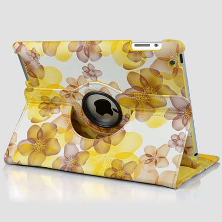 Ctech Stylish Yellow Lucky Flowers Case With 360 degrees Rotating Swivel Stand