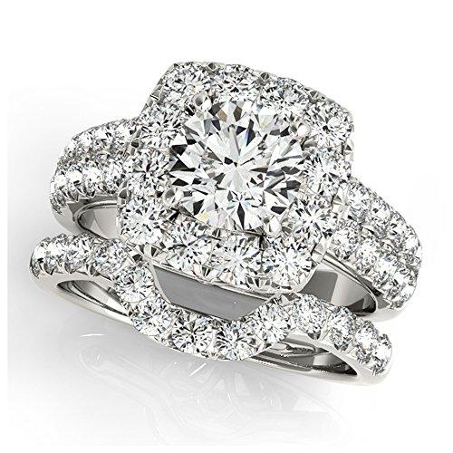 14K White Gold Unique Wedding Diamond Bridal Set Style MT50657