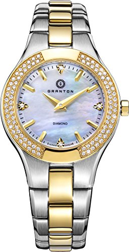 Bezel Mother Of Pearl Wrist Watch (Granton Womens Watches Diamond Mother of Pearl Dial Crystal Bezel Two Tone (Gold Tone, Silver Tone) Quartz Wrist Watch)