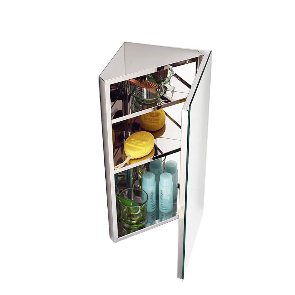11.8'' X23.6'' Stainless Steel Bathroom Mirror Cabinet-Triangle Cabinet-Corner Locker-Wall-Mounted Multi-Function Kitchen Medical Storage Organizer with Mirror by Bathroom mirror-TOYM