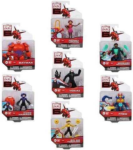 Amazon Com Big Hero 6 Action Figure Set 7 Characters Baymax Yokai Go Go Tomago Honey Lemon Wasabi No Ginger Fred And Hiro Hamada Toys Games