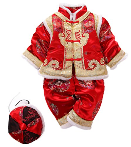[Soojun Baby Boys Winter Traditional Chinese Tang Suit 3 Piece Set, 27-33 Months (#2)] (Toddler Frog Prince Halloween Costume)
