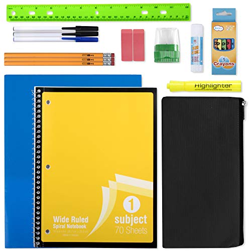 20 Piece School Supplies for K-12 Kids - Back to School Essentials Kit Bundle Supply Pack for Boys and Girls
