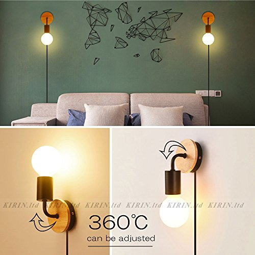 Minimalist Wall Light Sconce Plug-in E26/27 Base Modern Contemporary Style Down Lighting Dimmble Wall Lamp Fixture with Wood Base for Bedroom, Closet, Guest Room Hall Night Lighting (Black) by KIRIN (Image #4)
