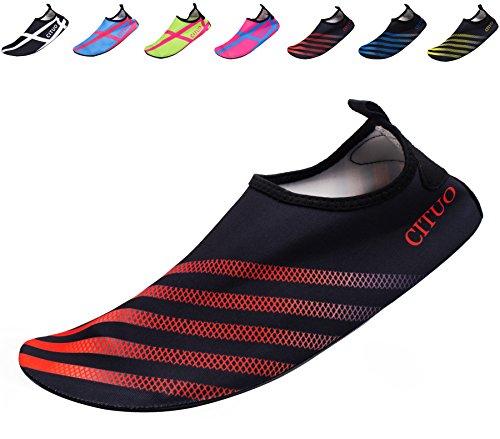 Giotto Wassersport Barefoot Aerobic Schuhe Leichte Quick-Dry Aqua Socken für Beach Pool Swim Yoga F2-rot