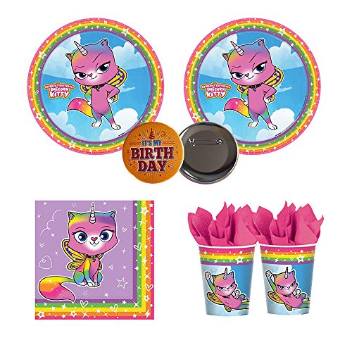 RDC Rainbow Butterfly Unicorn Kitty Birthday Party Supplies for 16 Guests - Small Plates, Napkins, Cups, Button -