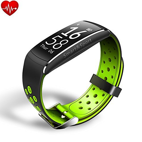 HR Moniter Fitness Tracker, Eschone Waterproof Color Display Screen Heart Rate Monitor Watch, Armband | Wristband | Bracelet with free iOS Android APP, Smart Watch (Green)
