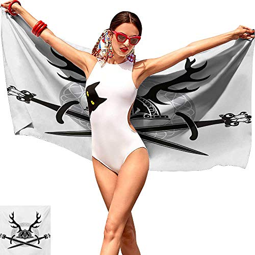 - Extra Long Bath Towel Antler Hat with Deer Antlers Viking Culture Celtic Circle Medieval Barbarian Theme Hand Towel W20 xL39 Black White Silver