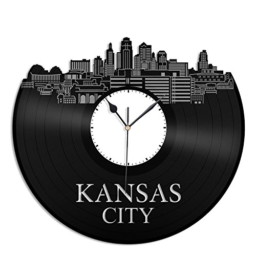 Kansas Vinyl Wall Clock City Skyline Souvenir