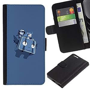 LECELL--Cuero de la tarjeta la carpeta del tirón Smartphone Slots Protección Holder For Apple Iphone 6 PLUS 5.5 -- Volar Personajes P0kemon --