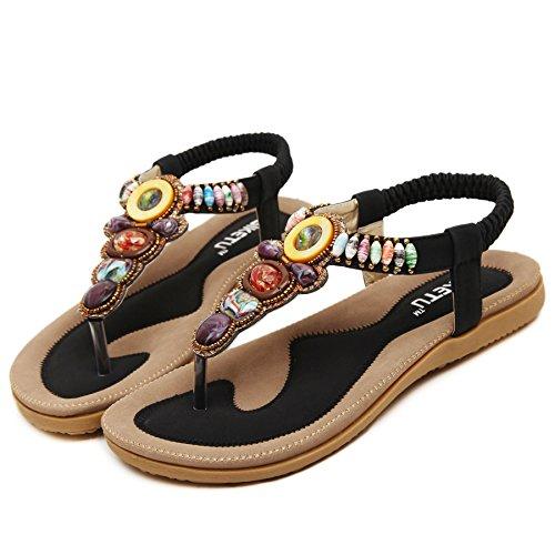 Womens Sandals Rhinestone Beauty Flat D2C 3 Black Thong Bohemian w7ZYq